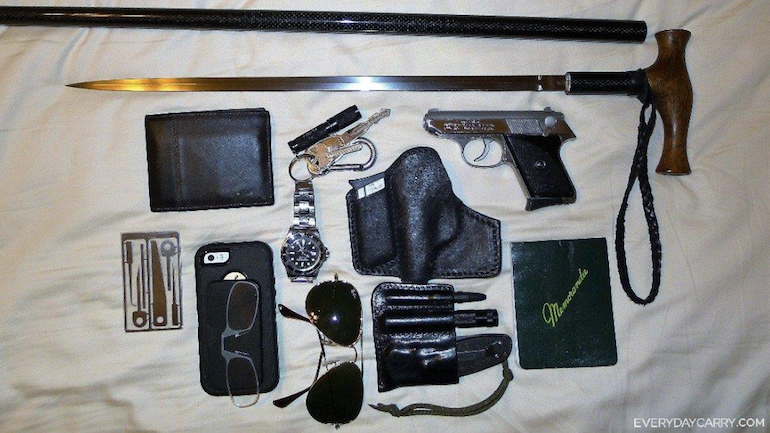 everyday carry pocket dump of the day cane you believe it